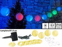 Lunartec Solar-LED-Gartendekos: Solar-LED-Lichterkette mit 10 Mini-Lampions, 1,8 m, IP44 (Lampion-Partylichterkette)