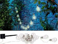 Lunartec Solar Licht: Solar-LED-Lichterkette im Glühbirnen-Look, 12 Birnen, warmweiß, 8,5 m (LED-Solarlichterkette)