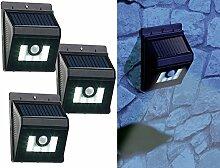 Lunartec Solar-Nachtlichter: 3er-Set Solar-LED-Wandleuchten mit Bewegungsmelder, Dimm-Funktion (LED-Licht mit Solar-Aufladung)