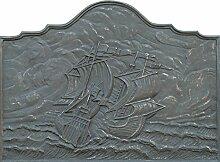 Lunaway Kaminplatte Ofenplatte für Kamin aus Gusseisen - SEGELSCHIFF | Maße: 100x74 cm