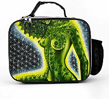 Lunch bag Litchi Leather Lunch Boxes Beauty Green