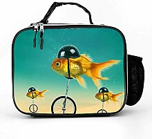 Lunch bag Litchi Leather Lunch Boxes Funny Fish On