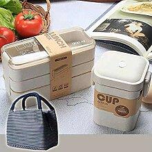 Lunch Box, 900Ml Bento Box 3 Schicht Weizenstroh