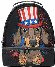 Lunch Box Bag Hund in Old American Hat mit Flagge