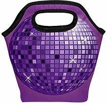 Lunch-Tasche, lila, Disco-Ball, Geschenk, Neopren,