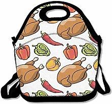 Lunch-Taschen, Motiv Hühnchen, rote Chili,