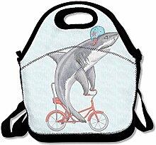 Lunch Tote Bag Funny Shark On Bike Picnic Lunchbox