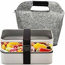 Lunchbox, Bento Box, 2 Fächer, Hermetisch mit