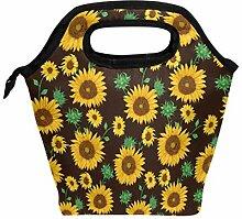 Lunchbox Lunchbox mit Sonnenblumen und Blättern,