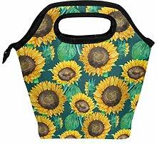 Lunchbox mit Sonnenblumen und grünen Blättern,