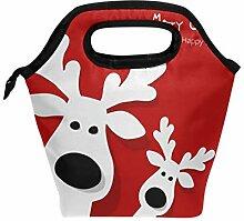 Lunchbox mit weihnachtlichem Rentier-Motiv, für