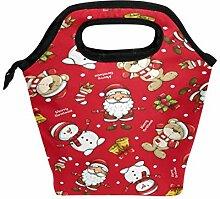 Lunchbox mit Weihnachtsmann-Motiv und Bärenmotiv,