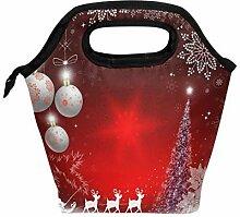 Lunchbox mit Weihnachtsmann und Hirsch-Motiv,