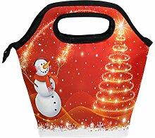 Lunchbox mit Weihnachtsmotiv und Schneemann, für
