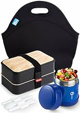 Lunchbox-Set – Bento Lunchbox mit Thermoskanne,