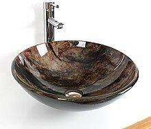 Lundi braun temepered Glas Waschbecken Wasserhahn