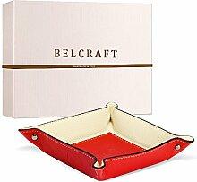 Luni Taschenleerer Leder, Handgearbeitet in klassischem italienischem Stil, Ordentlich Tablett, Rot (19x19 cm)