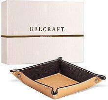 Luni Taschenleerer Leder, Handgearbeitet in klassischem italienischem Stil, Ordentlich Tablett, Hellbraun (19x19 cm)