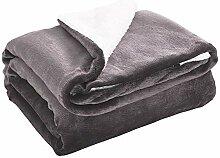 lunmous Sherpa-Fleece-Decke/Überwurf, flauschig,