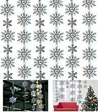 LUOEM Schneeflocke hängende Dekorationen Glitter