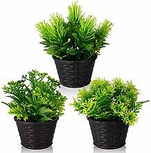 Luoshaoru Set mit 3 Mini-Kunstpflanzen,