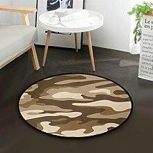 LUPINZ Camouflage-Fußmatte, rund, rutschfest,