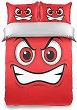 LUPINZ Emoji Bettwäsche-Set, 3-teilig, Emoticon,
