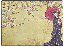 LUPINZ Teppich, Japanisches Mädchen mit rotem