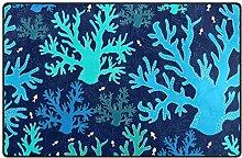 LUPINZ Teppich mit blauem Meereskorallenmuster,