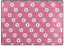LUPINZ Teppich mit Blumenmuster, rutschfest, für