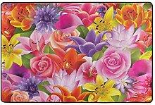LUPINZ Teppich mit Blumenmuster, rutschfeste