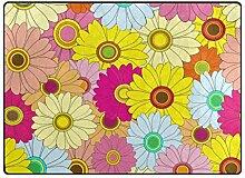 LUPINZ Teppich mit Buntem Blumenmuster,