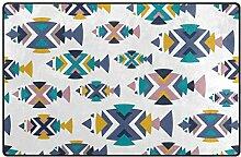 LUPINZ Teppich mit geometrischem Fischmuster,