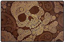 LUPINZ Teppich mit goldenem Totenkopf, rutschfeste