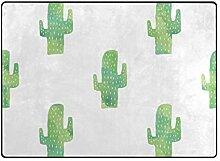LUPINZ Teppich mit Kaktusmuster, handbemalt,