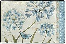 LUPINZ Teppich mit Libellen und blauen Blumen,