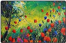 LUPINZ Teppich mit Mohnblumen-Motiv, rutschfest,