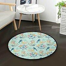 LUPINZ Teppich mit Seepferdchen-Muster, rund,