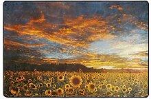 LUPINZ Teppich mit Sonnenblumenfeld, rutschfest,