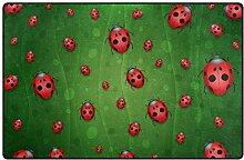 LUPINZ Teppich mit süßem Marienkäfer-Muster,