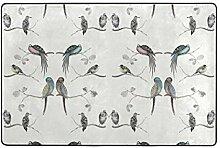 LUPINZ Teppich mit Vogel-Zweigbereich, rutschfest,