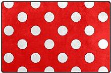LUPINZ Teppich mit weißen Punkten und rotem