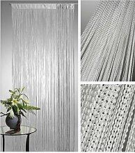 Lurex Fadenvorhang Silber 90x250cm Tür Fenster Gardine Insektenschutz Sichtschutz Vorhang