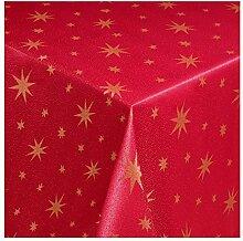 Lurex Sterne Weihnachtsdesign-Premiumqualität- Weiss-Creme-Rot glänzend - Weihnachtstischdecke ROT-GOLD 130x260 cm