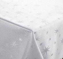 Lurex Tischdecke, Silber glänzende Sterne, Eckig 130x180 cm, weiss-silber, Weihnachtstischdecke, Farbe und Größe wählbar