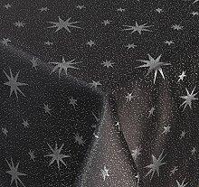 Lurex Tischdecke, Silber glänzende Sterne, Eckig 130x260 cm, grau-silber, Weihnachtstischdecke, Farbe und Größe wählbar