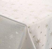 Lurex Tischdecke, Silber glänzende Sterne, Eckig 130x300 cm, creme-gold, Weihnachtstischdecke, Farbe und Größe wählbar