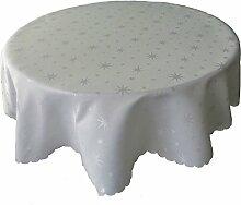 Lurex Tischdecke Sterne Farbe & Größe wählbar - Rund 160 cm Silber / Grau - dezent glitzernd Tischdecke Weihnachten