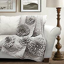 Lush Decor Fiorella Überwurf Decke, grau, 60 Inches x 50 Inches