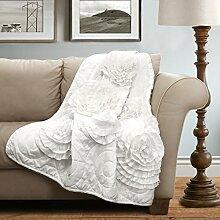 Lush Decor Fiorella Überwurf Decke, weiß, 60